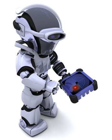 3D render of robot with GPS radar tracker Stock Photo - 8021465