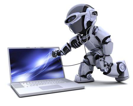 robot: Procesamiento 3D de robot con equipo y estetoscopio  Foto de archivo