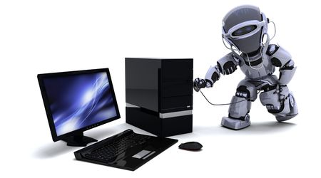 3D render of robot with computer and stethoscope Stock Photo - 8021464
