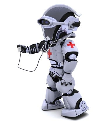 diagnostics: 3D render of robot doctor with stethoscope