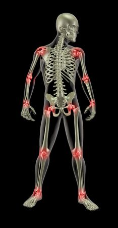 3d  rendering: 3D render of a medical skeleton with joints highlighted Stock Photo