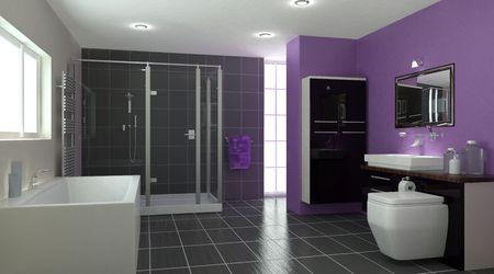 bathroom faucet: Procesamiento 3D de un interior contempor�neo de cuarto de ba�o  Foto de archivo