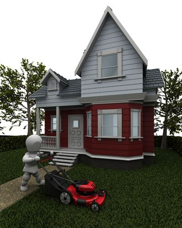 cutter: 3D render of a man mowing the lawn