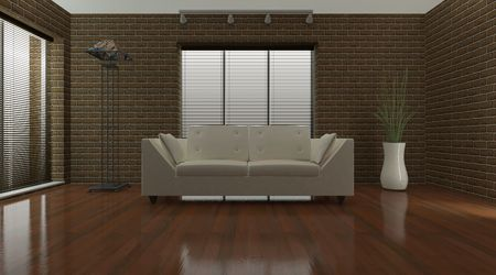 3D render of a Contemporary interior living space photo