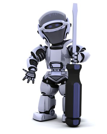 screwdrivers: 3D render of robot with a screwdriver Stock Photo