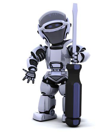 robot: 3D renderowanie robota Å›rubokrÄ™t Zdjęcie Seryjne