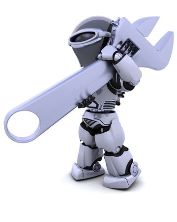3D render of robot with a wrench Stock Photo - 8128226
