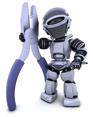 3D render of robot with a pair of pliars Stock Photo - 8128233