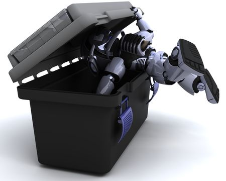 3D render of robot searching a toolbox Stock Photo - 8128231