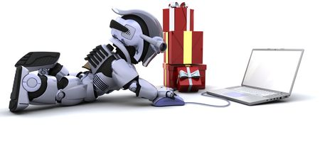 3D render of a robot shopping for gifts on a computer photo
