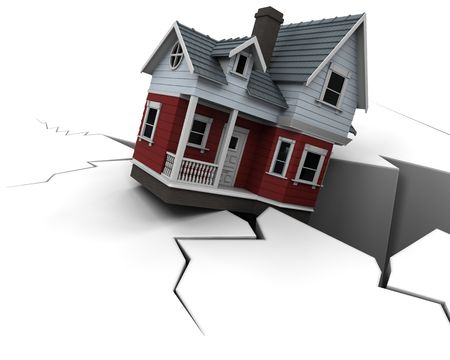 einsturz: 3D Render Darstellung sinkende Property Preise
