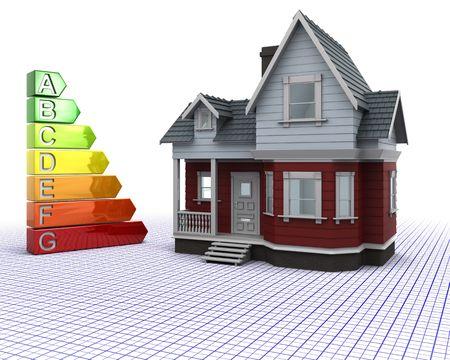 votaciones: 3D de procesamiento de una casa de madera Classic con las valoraciones de la energ�a  Foto de archivo