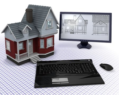 3D render of a Classic Timber House with computer and blueprints Stock Photo - 8128239