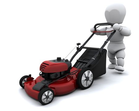 3D render of a man mowing the lawn Stock Photo - 8128227