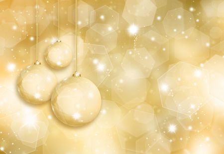 glittery: Golden Christmas baubles on a glittery gold background