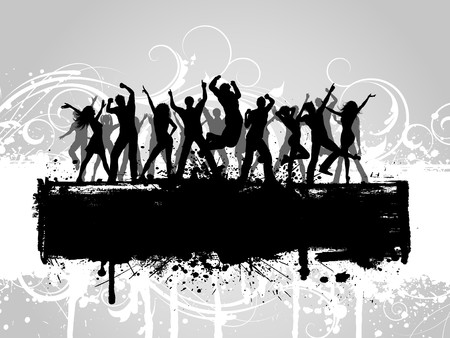 People dancing on a decorative grunge background photo