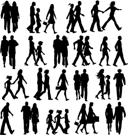 caminando: Gran colecci�n de siluetas de personas caminando  Foto de archivo