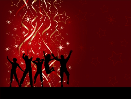 party silhouette: Silhouettes of people dancing on a Christmas background