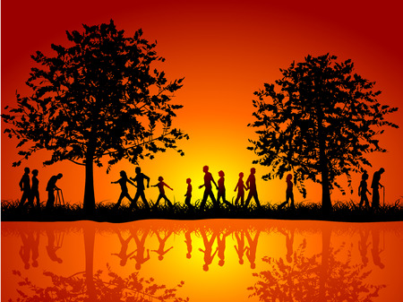 Silhouettes of people walking in the countryside