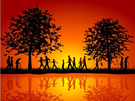 Siluetas de personas caminando en el campo