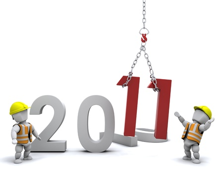 3D render depicting Bringing the new year in Stock Photo - 8228124