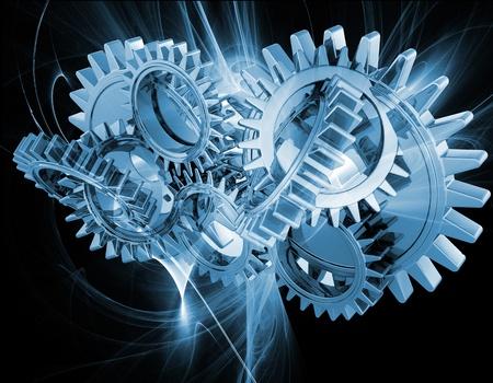interlocking: Interlocking gears on an abstract fractal background