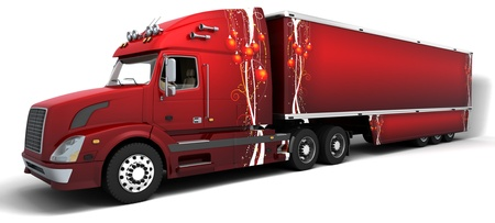 trailer: 3D render of Christmas American semi trucks Stock Photo