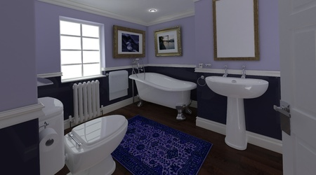 3D render of a Classic Bathroom Interior photo