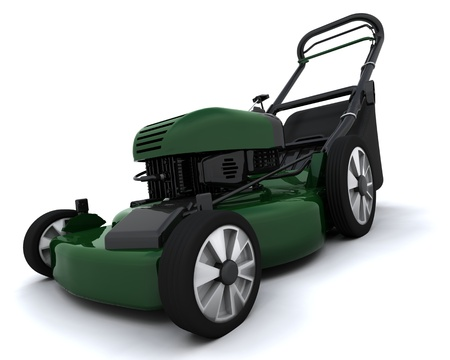 lawn care: 3D render of a petrol powered lawn mower