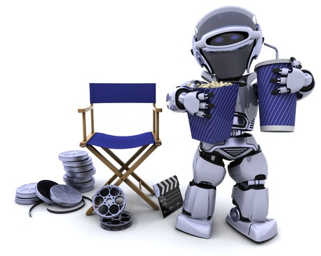 3D render of a robot with popcorn and soda with directors chair Stock Photo - 8228145