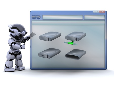 3D render of robot with computer window and drive icons photo