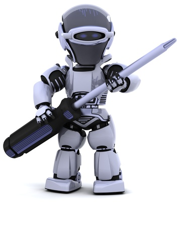 screwdrivers: 3D render of robot with