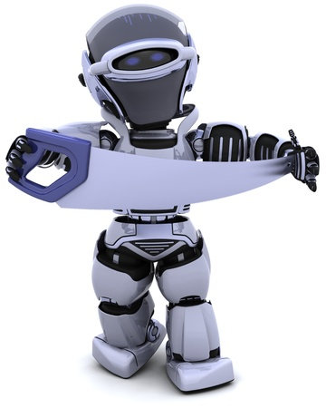 3D render of robot with saw Stock Photo - 8228138
