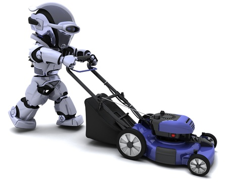 3D render of a man mowing the lawn Stock Photo - 8228140