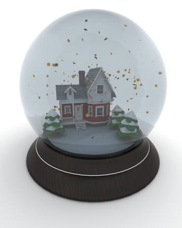 3D render of little house in winter snow globe photo