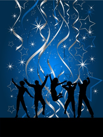 winter dance: Silhouettes of people dancing on a Christmas background