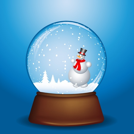 Snowman on a snowy night in snow globe  photo