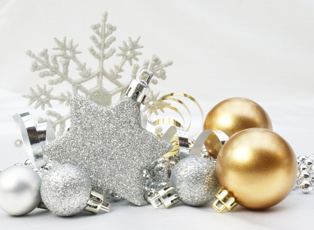 Christmas background with gold and silver decorations photo