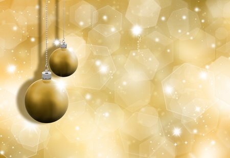 Glittery gold Christmas background with hanging baubles Stock Photo - 8362415