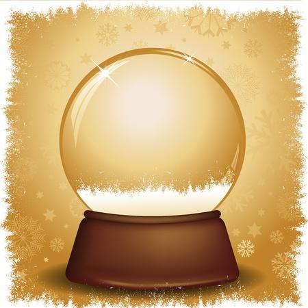 snow globe: Gold snow globe on a snowflake background