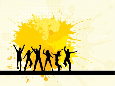 youths: Silhouettes of people dancing on a grunge background