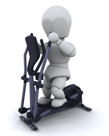 crosstrainer: 3D render of a man on a crosstrainer