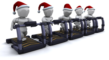 3D render of santas on treadmills photo