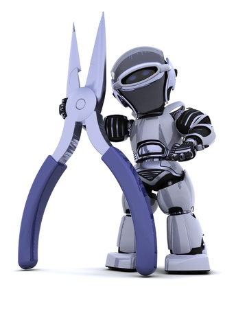 3d render: 3D render of robot with a pair of pliers Stock Photo