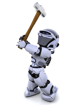 sledge hammer: 3D render of robot with a sledge hammer