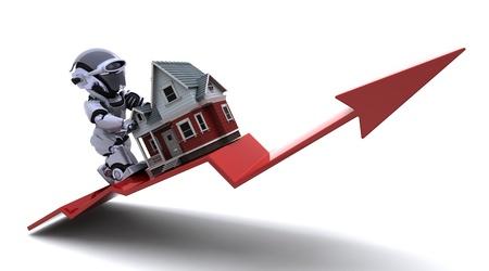 3D Render der ein Graph Darstellung Risiing Immobilienpreise Standard-Bild - 8468552