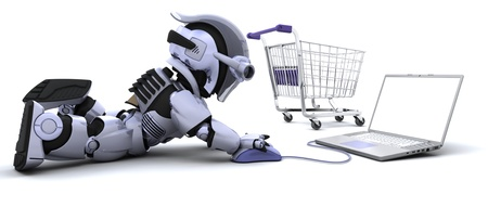 cute robot: 3D render of a Robot shopping for gifts on a laptop Stock Photo