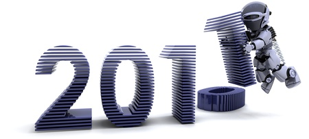 3D render of robot depicting Bringing the new year in Stock Photo - 8468559