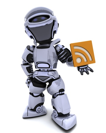 3D render of a Robot with RSS symbol Stock Photo - 8468553
