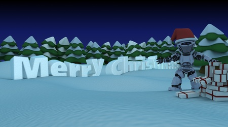 3D render of a robot in a christmas setting photo